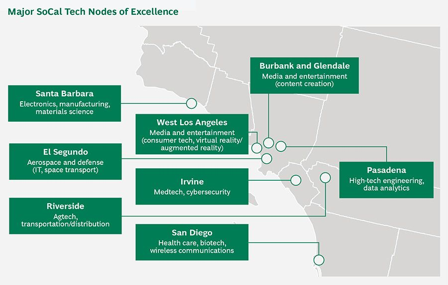 Major SoCal tech nodes of excellence