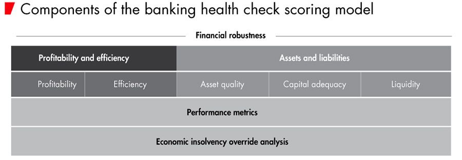 Components of the banking health check scoring model