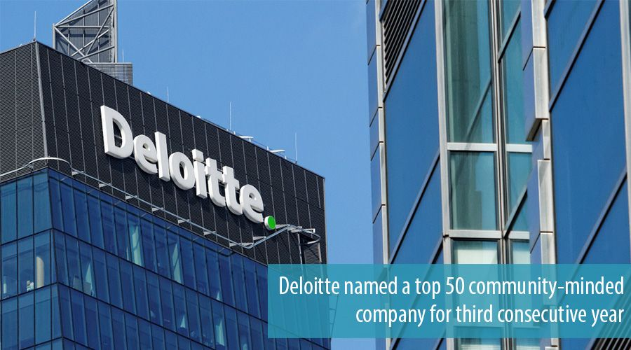 Deloitte named a top 50 community-minded company for third consecutive year